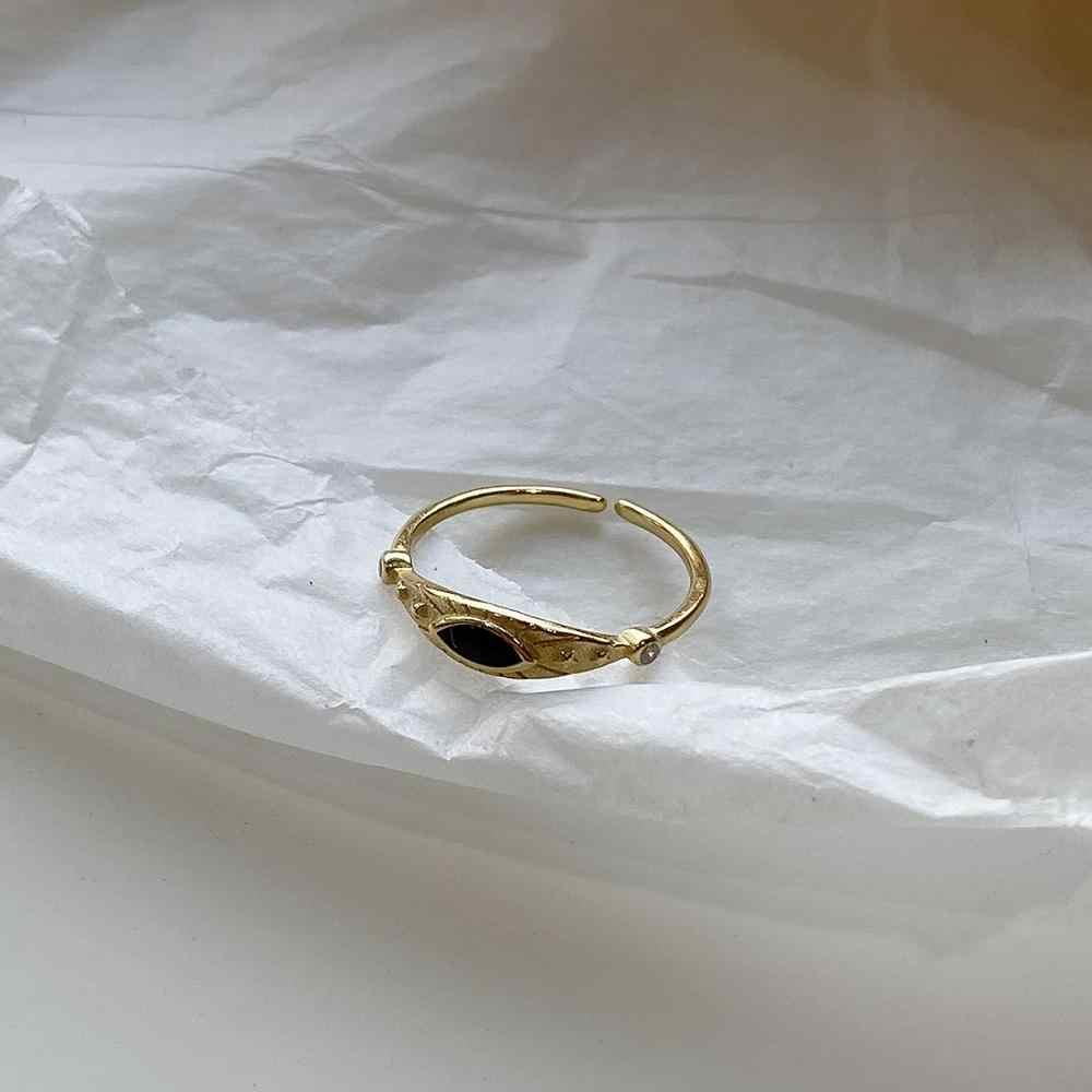 LouLeur prawdziwe 925 srebro czarne oko pierścienie minimalistyczne kobiece złote pierścienie otwierające dla kobiet moda luksusowe biżuteria prezenty