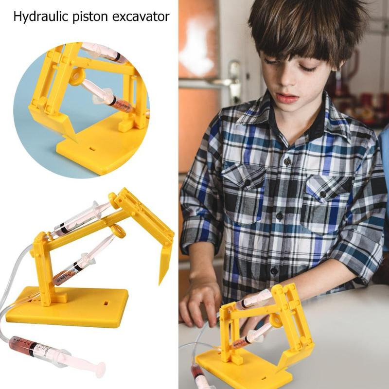 Creative Hydraulic Piston Excavator DIY Scientific Experiment Model Toy Kids Science Experiencement Toys DIY Gifts For Kids
