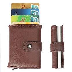 Nuevo estilo AliExpress Amazon Venta caliente Pu Tarjeta de aleación de aluminio paquete RFID blindado antirobo billetera de aleación de aluminio tarjeta caja