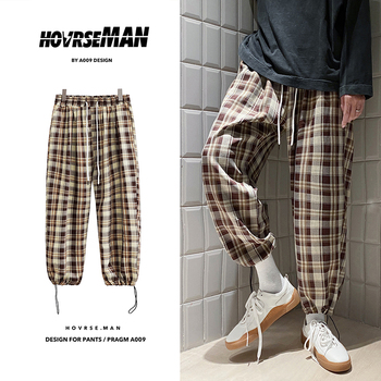 2020 autumn new arrival Korean Black Plaid Casual Pants Mens Streetwear Harem Pants Male Checkered Trousers Plus Size