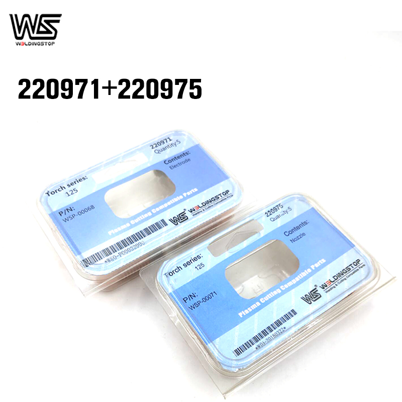 WS 220971 Electrode 220975 Nozzle   Tip Plasma Cutter Cutting Torch Consumables for 125A