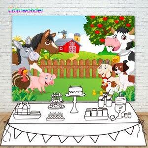 Фон для фотосъемки детей с изображением Красной фермы животных на первый день рождения баннер маленький фермер Новорожденный ребенок душе...