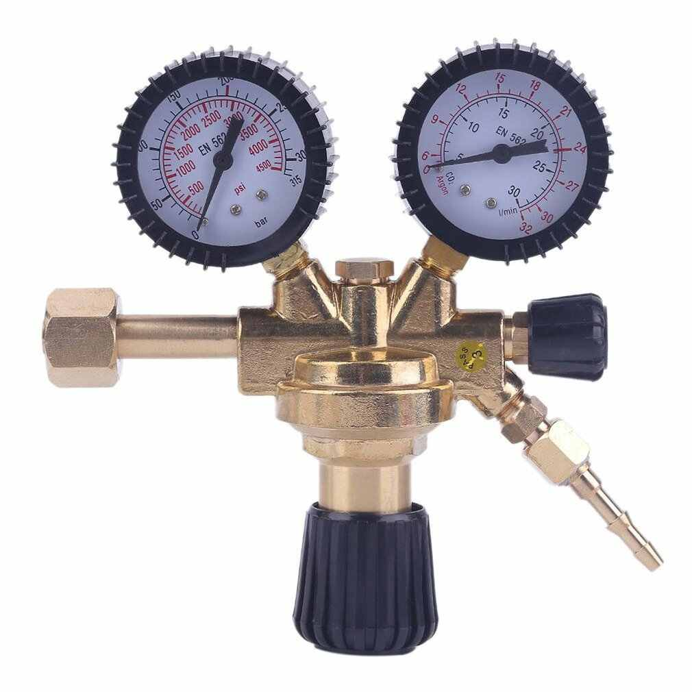 Carbon Dioxide Pressure Reducer High Quality Brass AR/CO2 Meter Reductor Argon Regulator Dual Gauge 0-315/0-30 MPa