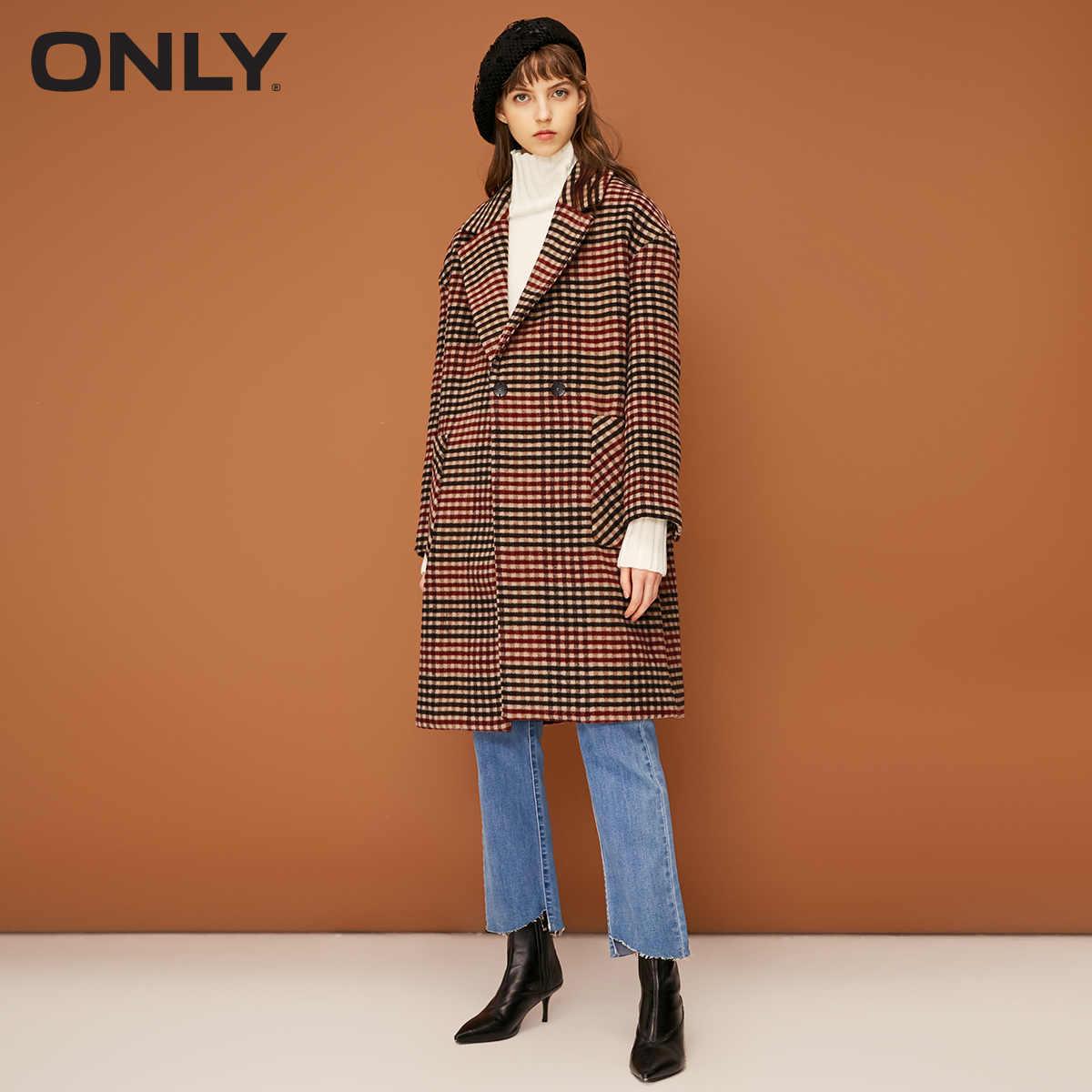 Только ретро женщины плед двубортное шерстяное пальто Верхняя одежда | 11834S541