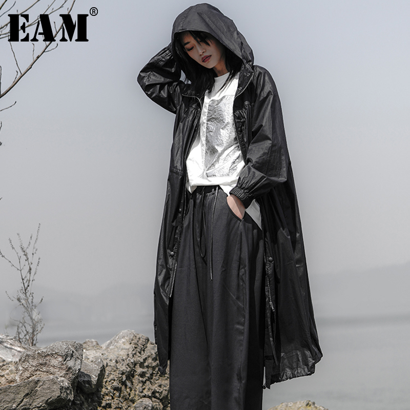 [EAM] Women Black Thin Loose Long Big Size   Trench   New Hooded Long Sleeve Loose Fit Windbreaker Fashion Autumn Winter 2019 JS920