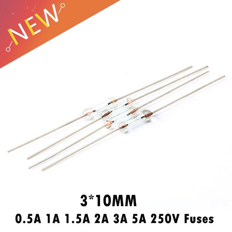 100 шт./лот 3*10 мм 250 в осевой Быстрый стеклянный предохранитель с свинцовым проводом 0.5A/1A/1.5A/2A/3A/5A 250 В предохранители экологически чистые 3X10