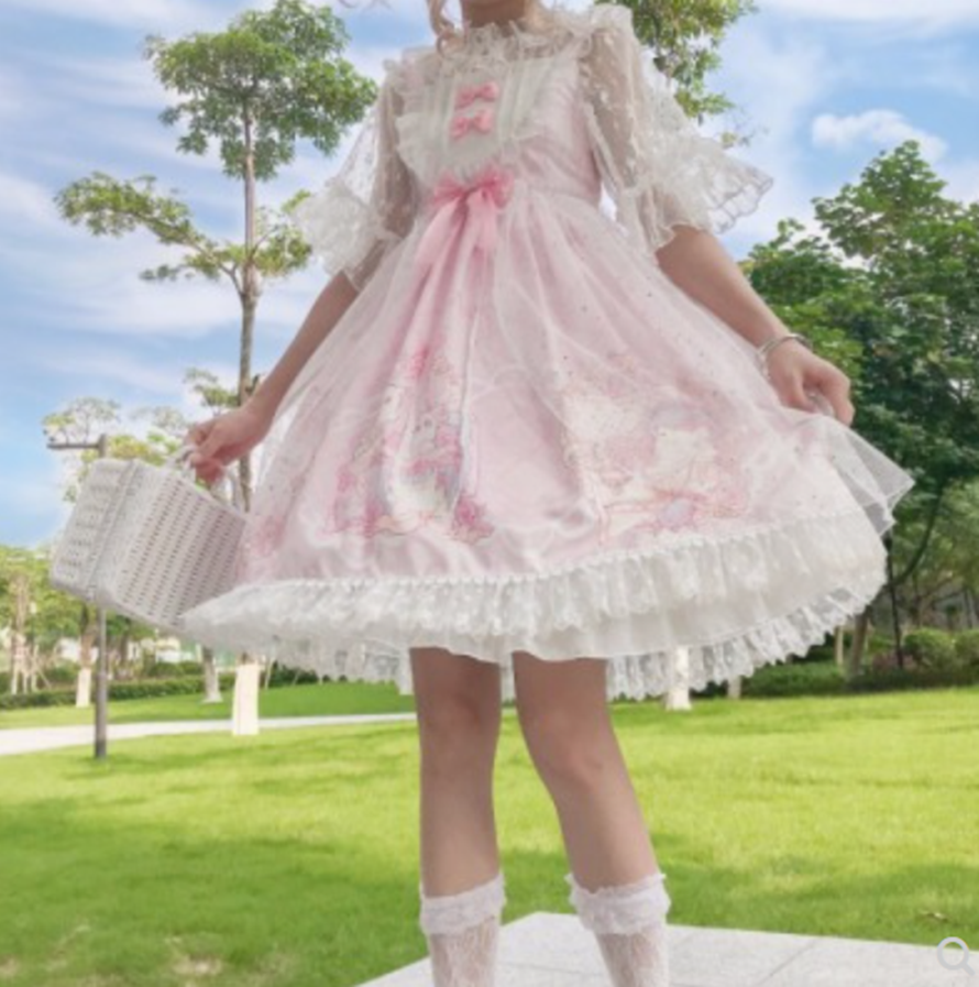 Japanese Sweet Soft Girl High Waist Princess Jsk Cute  Lolita Summer Woman Temperament  Mini Kawaii Jsk Lolita Cos Loli