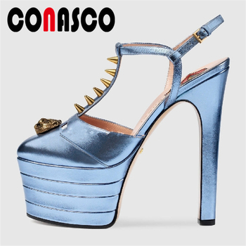 CONASCO Women Sandals Summer New T-Strap Fashion Sexy Rivets Women Pumps Platforms Wedding Party Super High Heels Shoes Woman