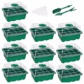 10-pack Seed Starter Trays Nursery Pots Seedling Tray Humidity Adjustable Switch Garden Decor Accessories 12 Cells Per Tray