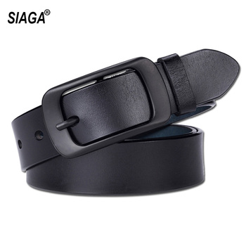 Womens Belt Simple Black Buckle Metal Genuine Leather Real Cowskin Belts for Women Leisure Decorative Jeans  FCO068