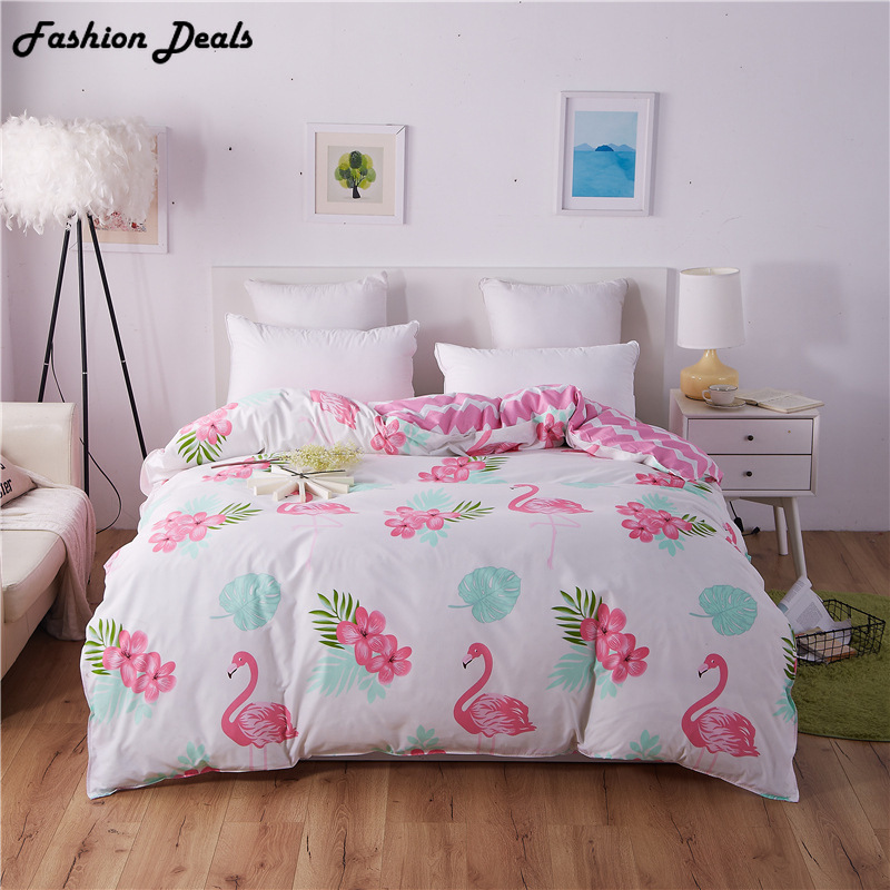 Popular Flamingo Printed Duvet Cover Plaid Stripes Quilt Cover Cotton Bedclothes 150*200cm/180*220cm/200*230cm/220*240cm Size