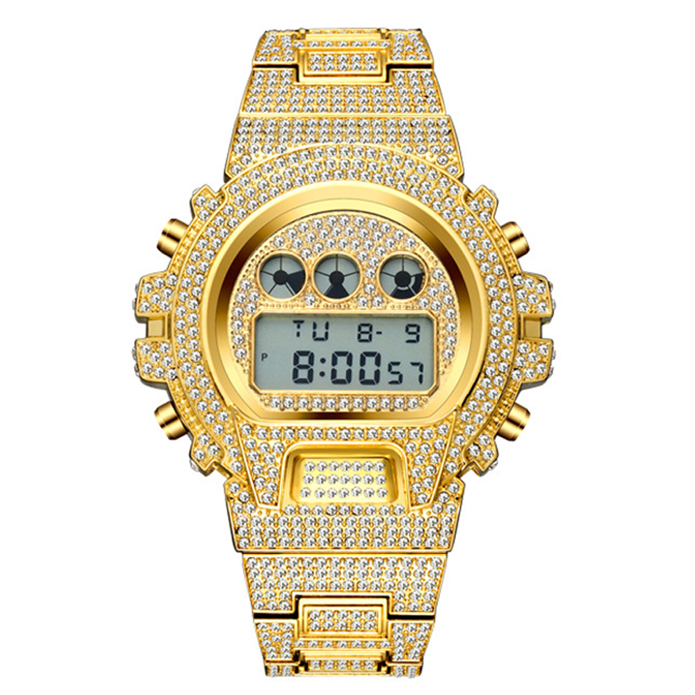 dropshipping new 2020 MISSFOX Multi-function G Style Digital Mens Watches Top Brand LED 18K Gold Watch Men Hip Hop Male Iced Out Watches Man (5)