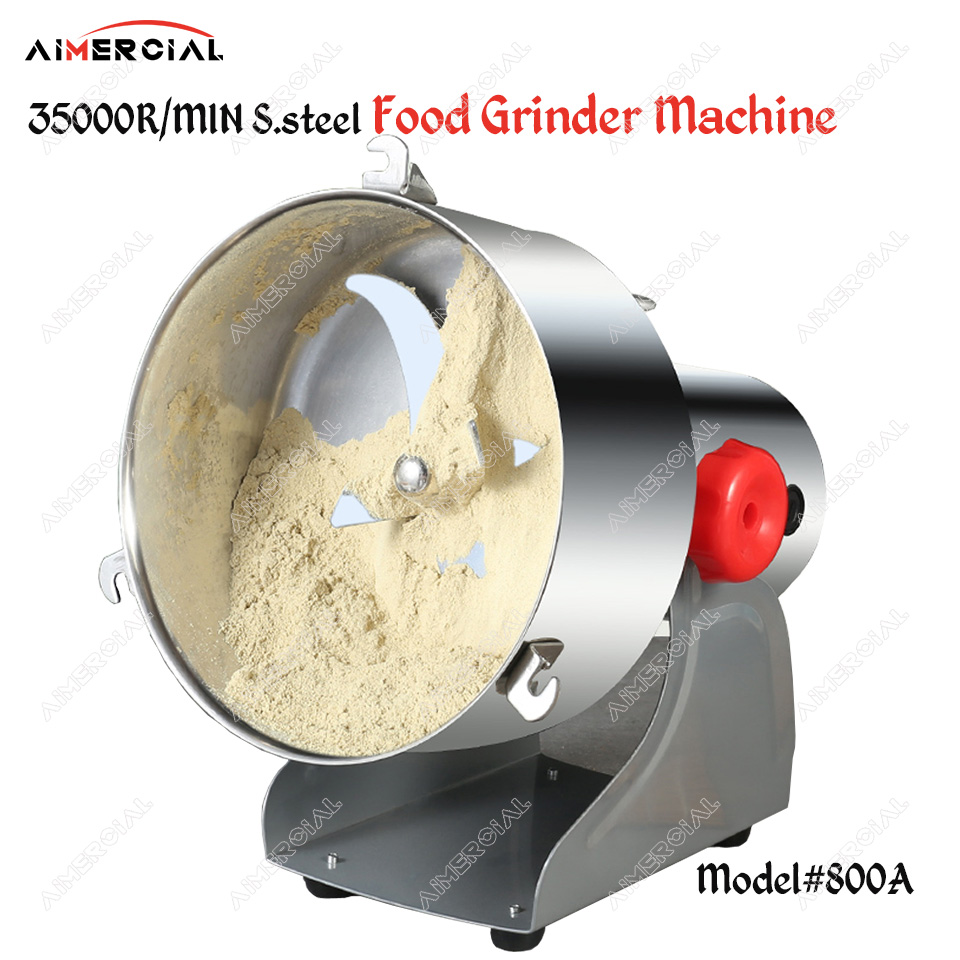 800A electric spices hebals cereals coffee peanut dry food grinder mill machine stainless steel rotary food mill 800g/time