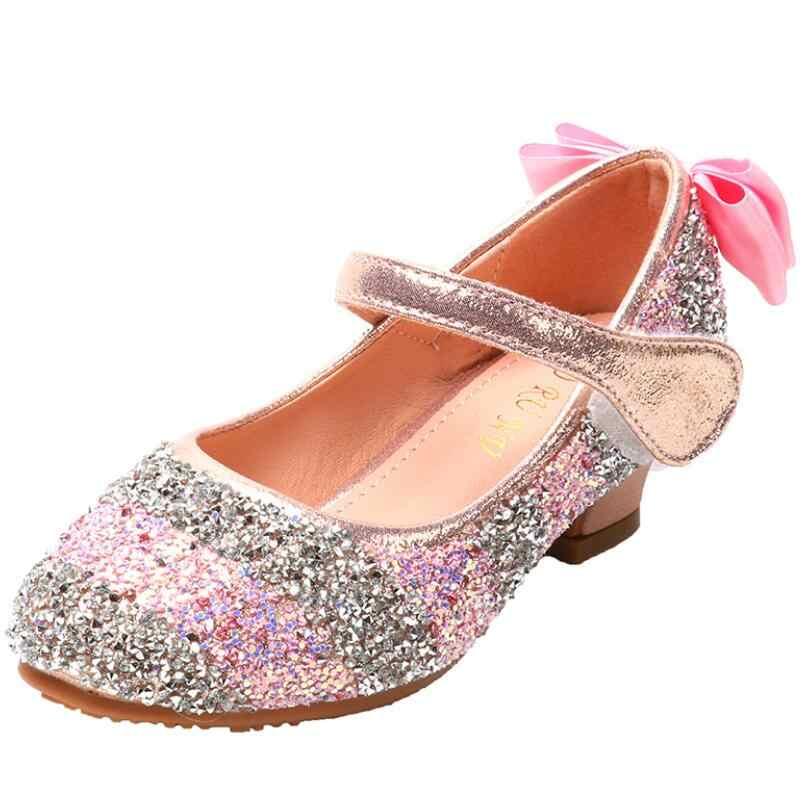 Giày Sandal Trẻ Em Thắt Nút Công Chúa Giày Da Bé Gái Giày Cho Bé Lấp Lánh Tiệc Cưới Sandalia Infantil Chaussure Enfant Giày