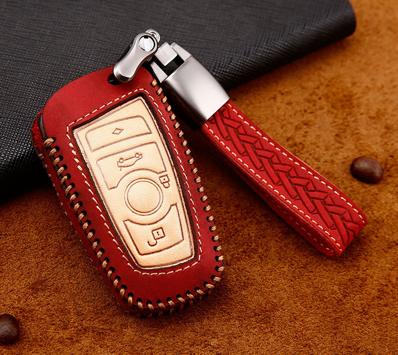 cheapest Crazy horse Leather Car Key Case For BMW 520 525 f30 f10 F18 118i 320i 1 3 5 7 Series X3 X4 M3 M4 M5 Car Styling Protection Key
