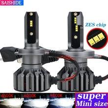 BAISHIDE H4 H7 Zes Chip de Carro Faróis H1 H3 H9 H11 9005 HB3 9006 HB4 9012 6000K 4500K 60W 8000LM 12V CONDUZIU a Lâmpada Auto Luz de Nevoeiro
