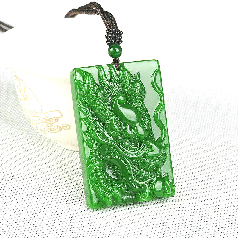 Natural Green Jade Dragon Pendant Necklace Hand Carved Charm Jadeite Jewellery Amulet Fashion Accessories for Men Women Gifts