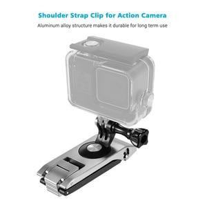 Image 5 - Aluminum Action Camera Backpack Shoulder Strap Clip Mount Strap Holder 360° Rotatable 6 level CNC Technology Action Camera Mount