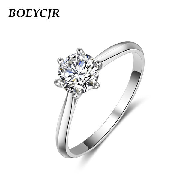 BOEYCJR 925 Silver 6 Claws 0.5ct/1ct/2ct/3ct F color Moissanite VVS  Engagement Wedding Ring With national certificate for Women