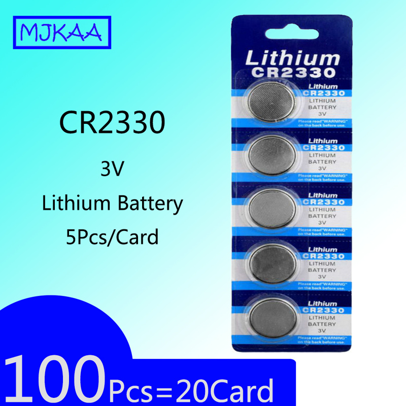 100Pcs=20Card CR2330 3V Lithium Battery Button Cell Batteries BR2330 ECR2330 KCR2330 EA-2330C Remote Control LED Flash image