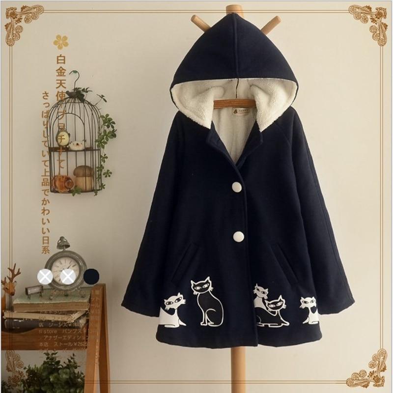 Fille a-type manteau épais manteau preppy style lâche hiver veste belle chat graffiti à capuche coupe-vent survêtement taille libre