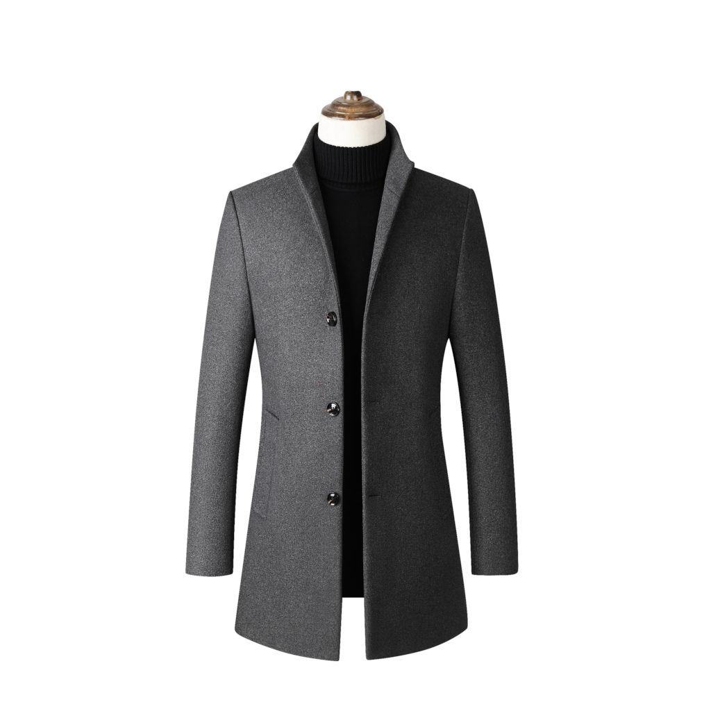 Vogue Brand Wool Blends Coats Men Autumn Winter Jacket Men Solid Stand Collar Wool Coats Luxurious Wool Blends Overcoat Male