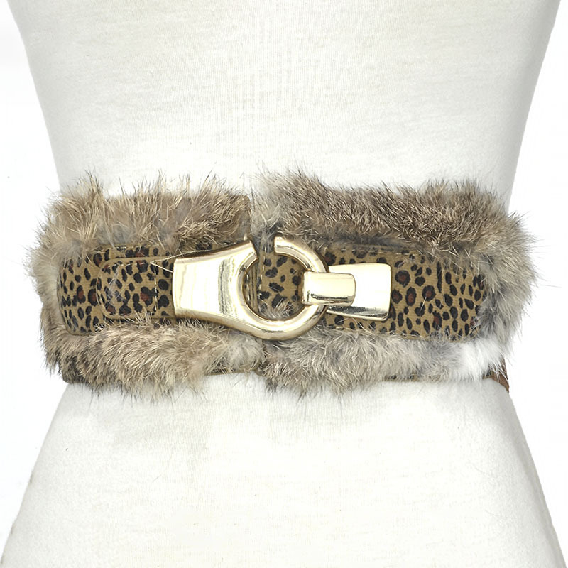 New Rabbit Fur Super Wide Belt Women's Elastic Elastic Waist Gauze Rabbit Fur Decorative Belt  M16