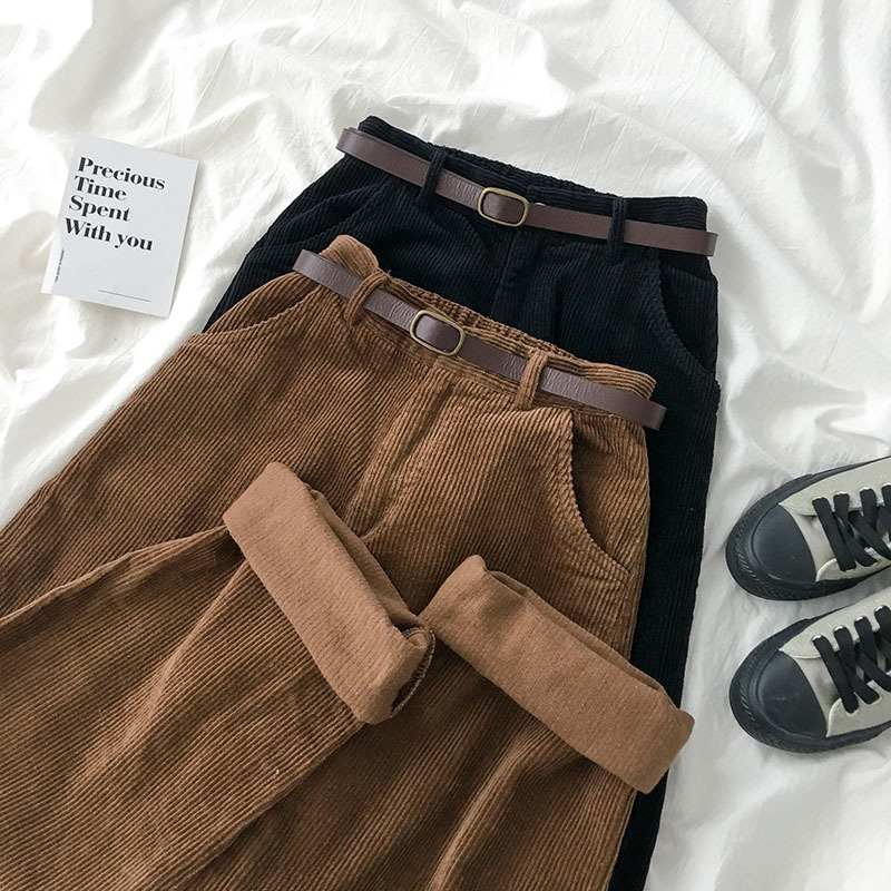 Corduroy Wide Leg Pants Trousers Women Spring Vintage Brown Black High Waist Fashion Straight Bottoms