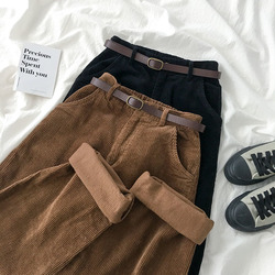High Waist Corduroy Wide Leg Pants Female Vintage Brown Black Straight Trouser Without Belt Women Casual Harajuku Bottoms