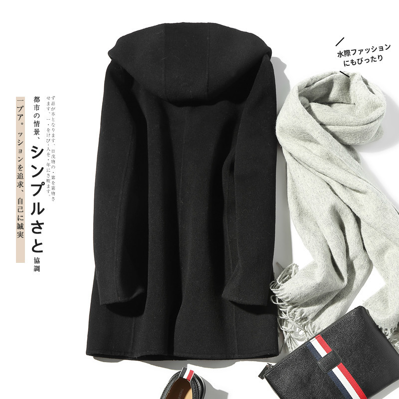 100% Wool Coat Men Hooded Double-sided Spring Autumn Long Windbreaker Mens Coats And Jackets LM18-1023 KJ1465