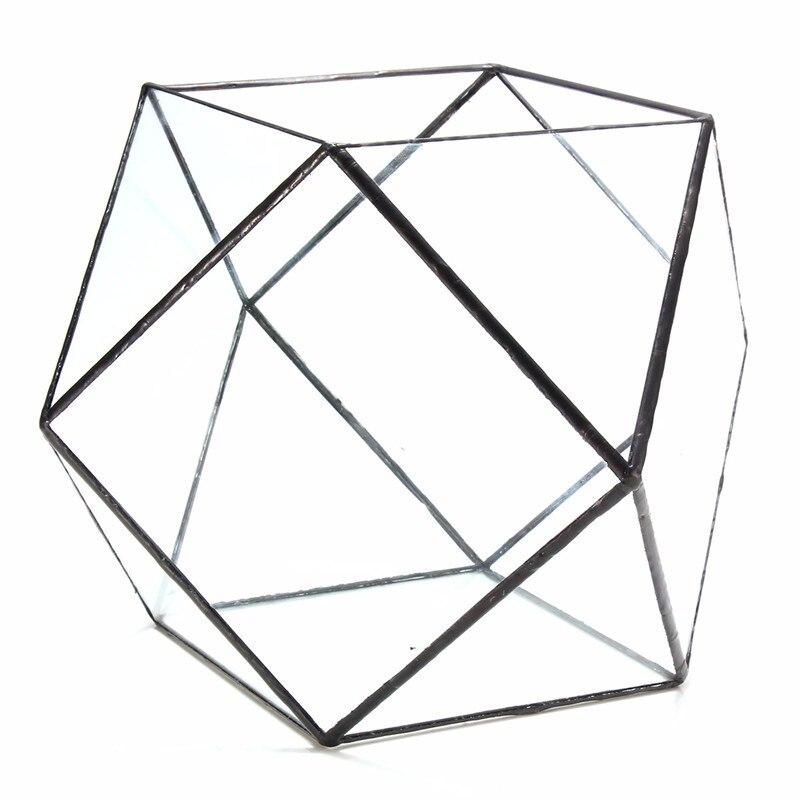 Vetro Geometrica Terrario Box Fai Da Te Casella di Visualizzazione Da Tavolo Succulente Impianto di Aria Fern Muschio Vaso Fioriera - 5