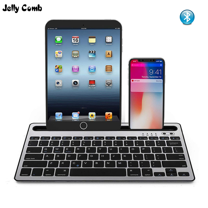 Jelly Comb Bluetooth Keyboard Portable Phone Pad Stand Wireless Keyboard for Tablet Laptop Smartphone Support IOS Android System image