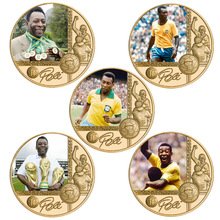 The King Of Football Pele Gold Plated Commemorative Coin Set with Coin Holder Football Challenge Coins Souvenir Gift for Him