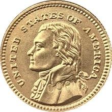 Gola-Banhado EUA 1903 Dólares 1 24-K Francos coin copy 15mm