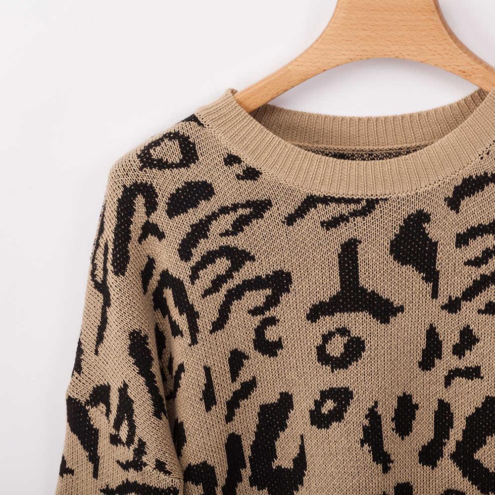 2019 חדש אופנה נשים סתיו תלבושת לסרוג רחב מימדים XXXXL בתוספת גודל גדול גדול סוודרים הדפס מנומר ארוך פנאי סוודר