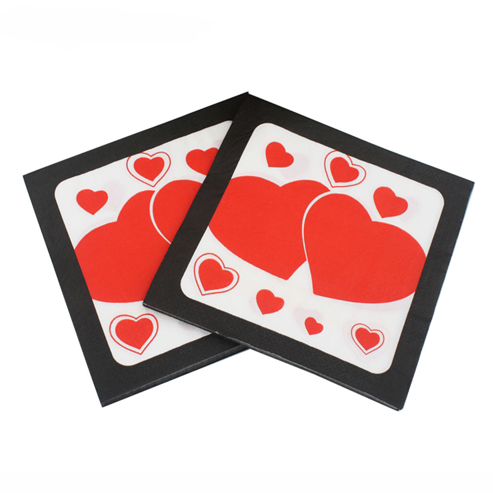 [Currently Available] Color Printed Napkin Wedding Napkin Heart Pattern Paper Towel Tissue Paper