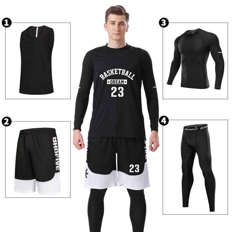 4PCS/Set Winter Basketball Jersey With Compression Tights Mens Sports Tights Sports Jerseys Basketball Shirt Fitness Workout Kit