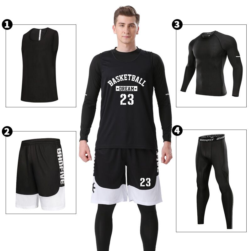 WEEKEND SHOP 4pcs Mens Basketball Training Suit Basketball Jersey Quick-Dry Tights Leggings
