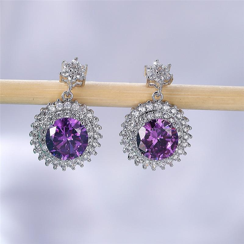 Luxury Female Purple Crystal Drop Earrings Rose Gold Silver Color Dangle Earring Simple Rainbow Round Wedding Earrings For Women