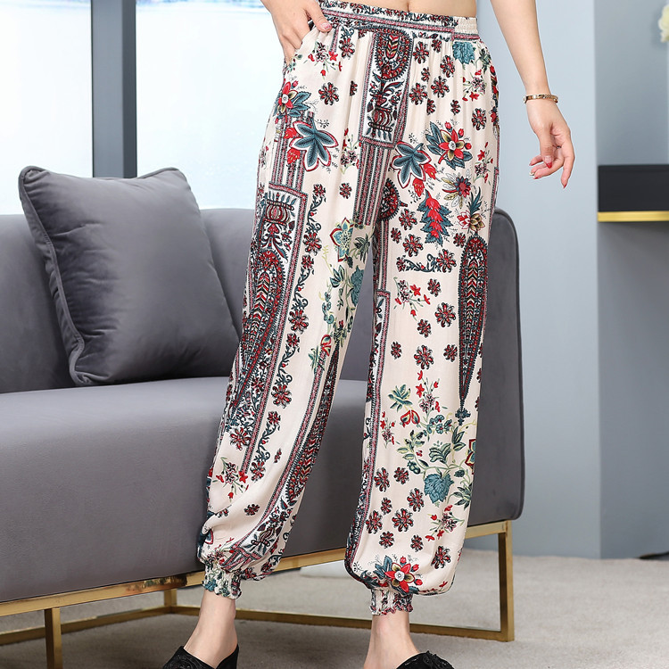 Bourette Bloomers Women's Spring And Summer New Style Artificial Cotton Beach Holiday Large Size Harem Yoga Ankle Banded Pants