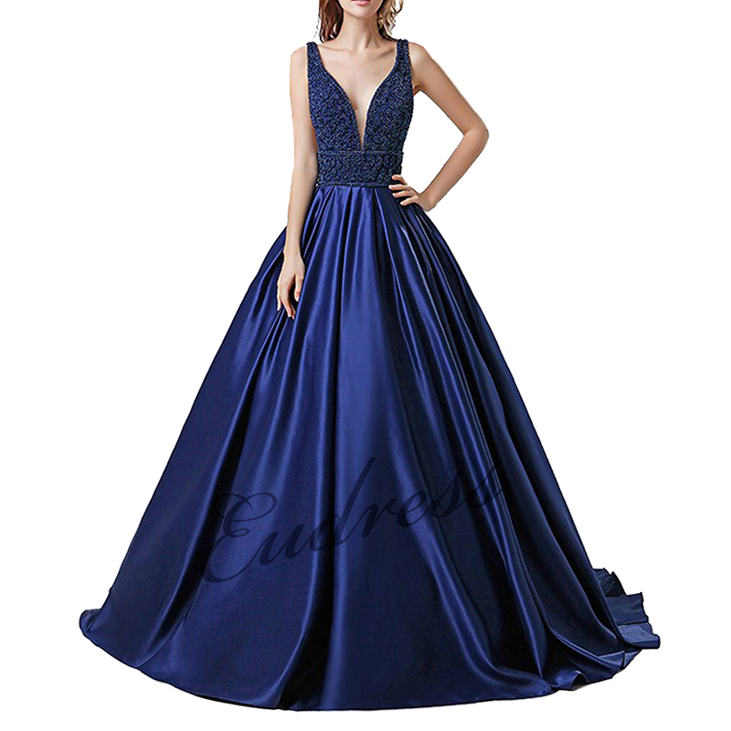2019 Elegant V Neck Blue Party Gown Satin Sexy Beading Prom Dresses Plus Size Long vestido festa Formals Long Evening Dresses