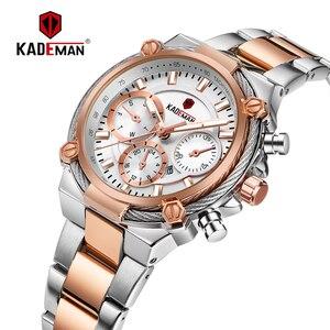 Image 2 - KADEMAN montre de luxe pour femmes, montre bracelet à Quartz, Design classique, avec bracelet en acier, Date, pour filles
