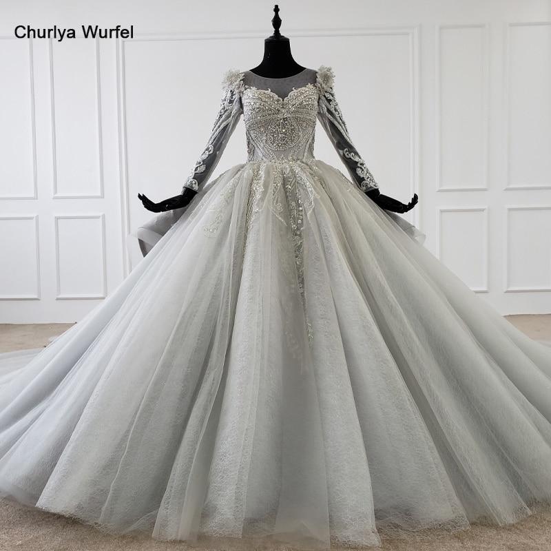 HTL1098 Luxury Wedding Dress Grey O Neck Lace Up Back Long Sleeve Wedding Gown Plus Size Formal Dresses Vestidos De Novia 2020