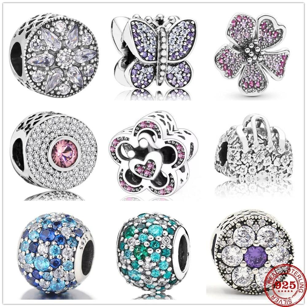 Bracelet à breloques pandora original en argent sterling 925, breloque en  Zircon papillon amour fleur, perle pour fabrication de bijoux, bricolage