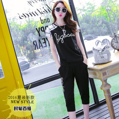 Korean-style Casual Sports Clothing WOMEN'S Suit Summer Loose And Plus-sized Capri Pants Pure Cotton Running Short Sleeve Sports