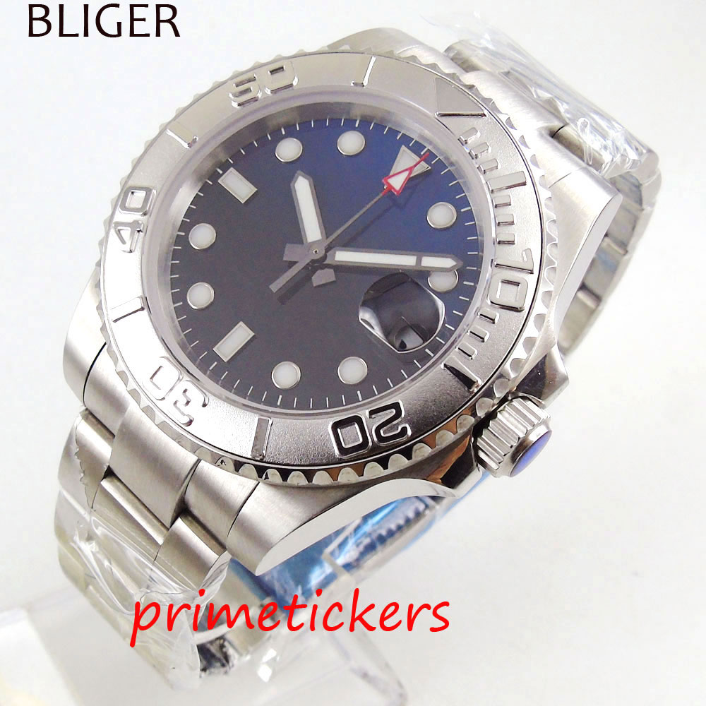 Silver case automatic 40mm men's watch blue&black dial sapphire crystal date rotating bezel mental band