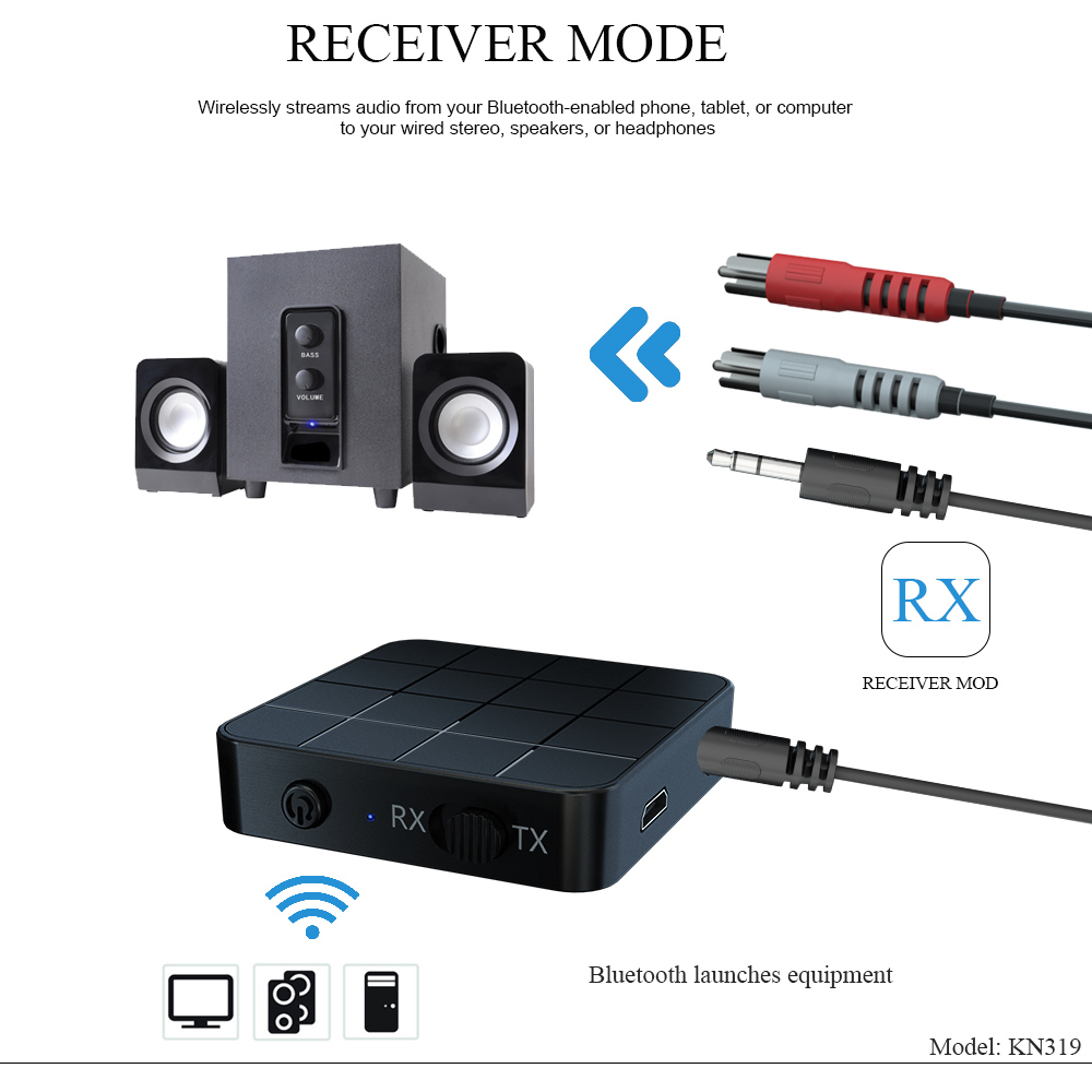 Bluetooth 5.0 Audio Receiver Transmitter AUX RCA 3.5MM 3.5 Jack USB Music Stereo Wireless Adapters Dongle For Car TV PC Speaker 2