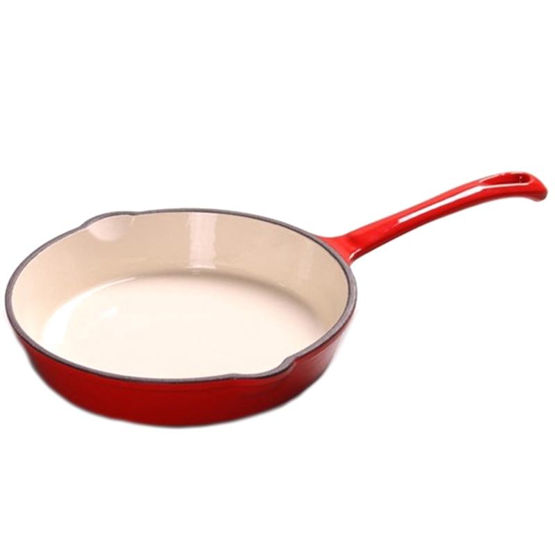 Shabu-Shabu Frying Pan Pan Long-Handled Enamel Pot Flat-Bottomed Wok