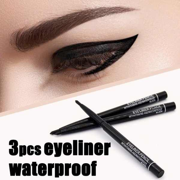 Women Waterproof Retractable Rotary Eyeliner Pen Eye Liner Pencil Makeup Cosmetic Tools(3pcs/set)