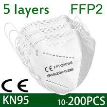 Mascarilla Facial protectora KN95 FFP2, máscara de seguridad antipolvo con 5 capas de filtro, Tapabocas de 2 a 200 Uds.